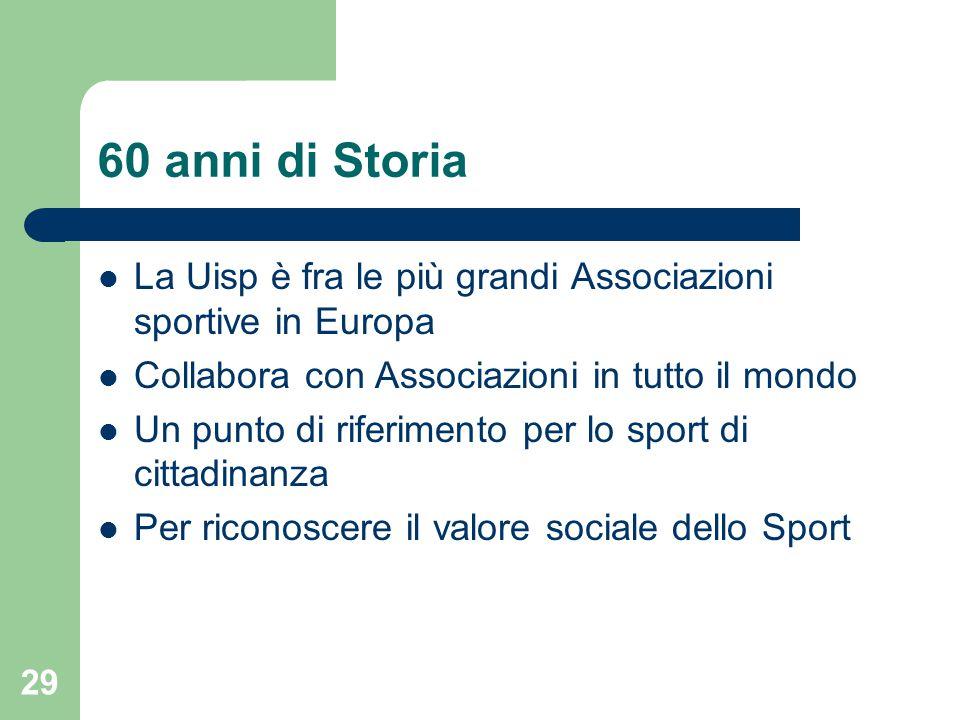 60 anni di Storia La Uisp è fra le più grandi Associazioni sportive in Europa. Collabora con Associazioni in tutto il mondo.