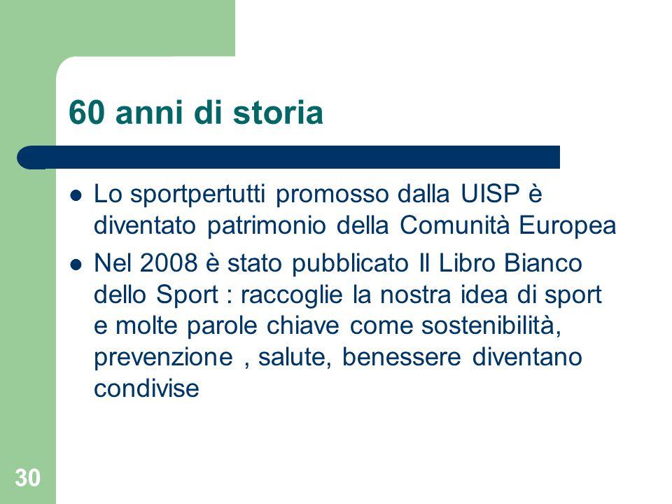 60 anni di storia Lo sportpertutti promosso dalla UISP è diventato patrimonio della Comunità Europea.