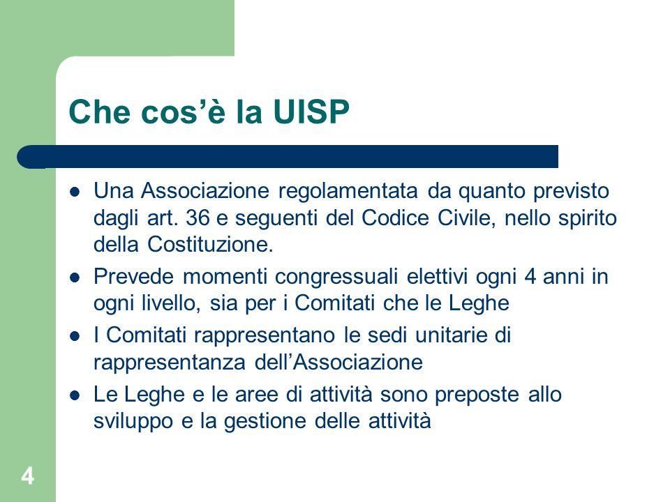 Che cos'è la UISP Una Associazione regolamentata da quanto previsto dagli art. 36 e seguenti del Codice Civile, nello spirito della Costituzione.