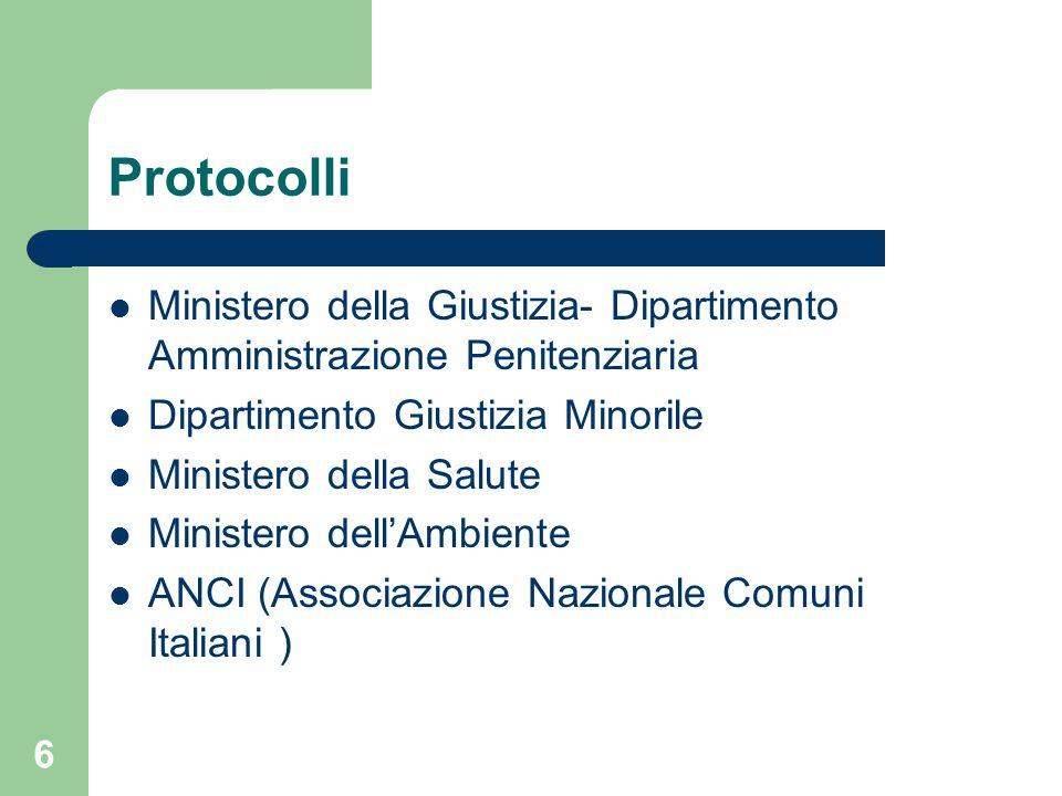 Protocolli Ministero della Giustizia- Dipartimento Amministrazione Penitenziaria. Dipartimento Giustizia Minorile.