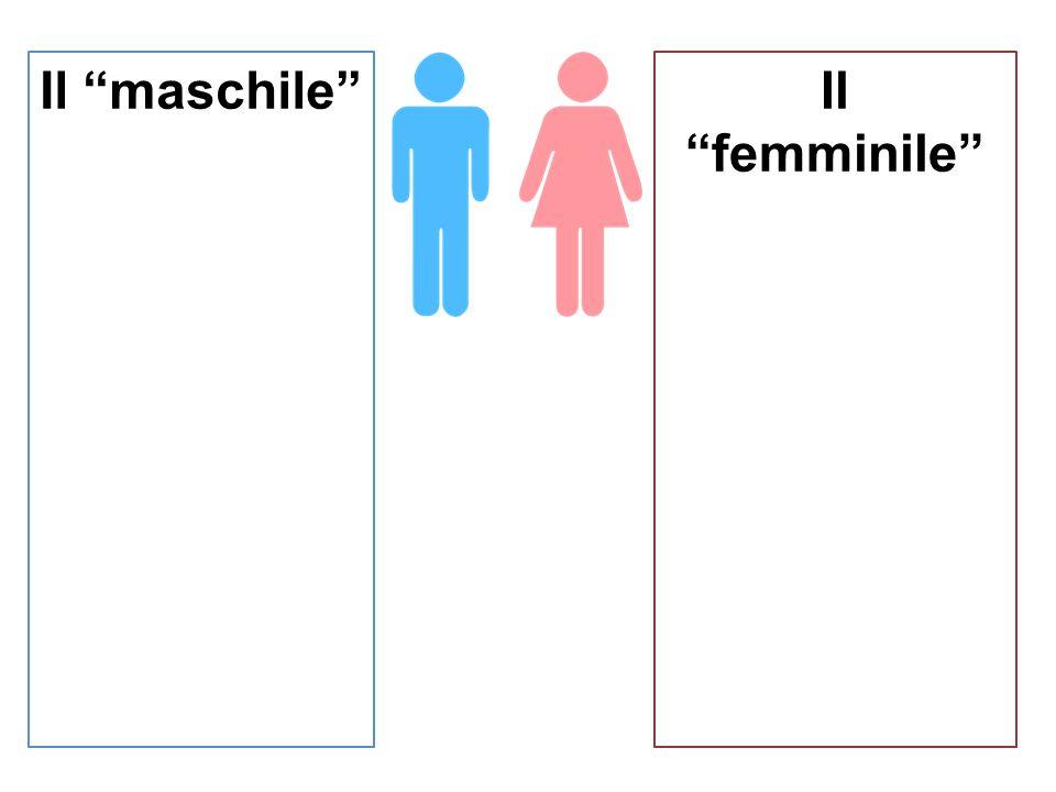 Il maschile Il femminile