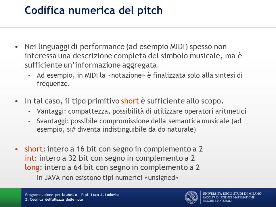 Codifica numerica del pitch