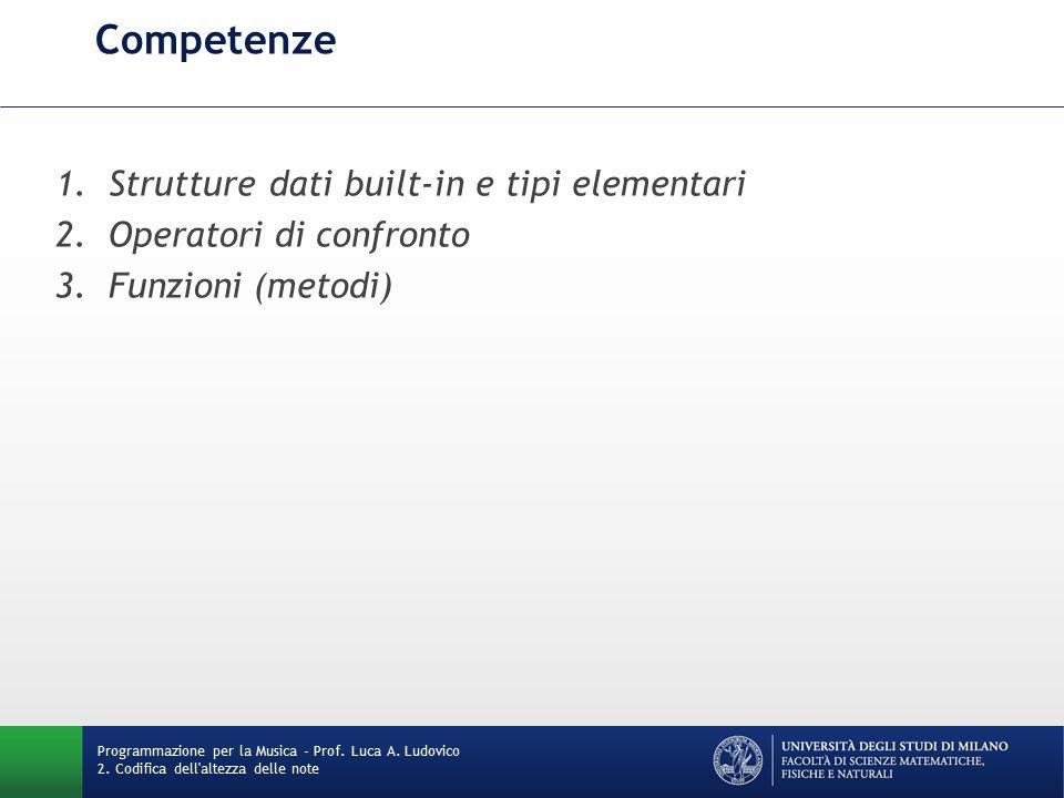 Competenze Strutture dati built-in e tipi elementari