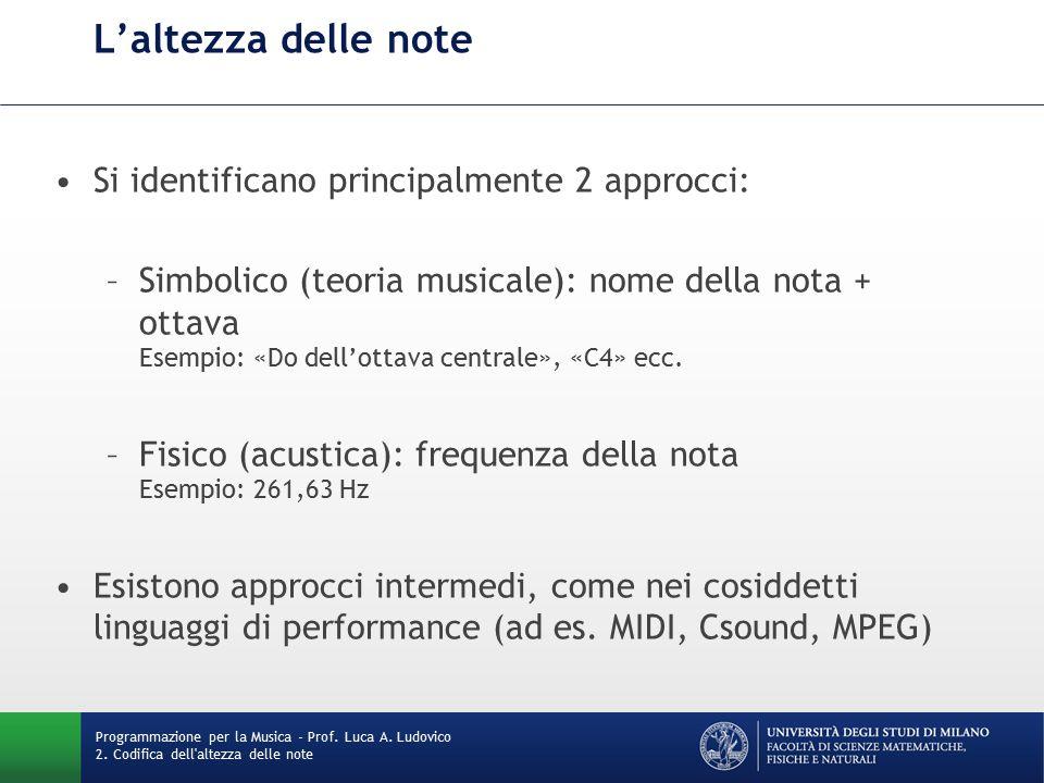 L'altezza delle note Si identificano principalmente 2 approcci: