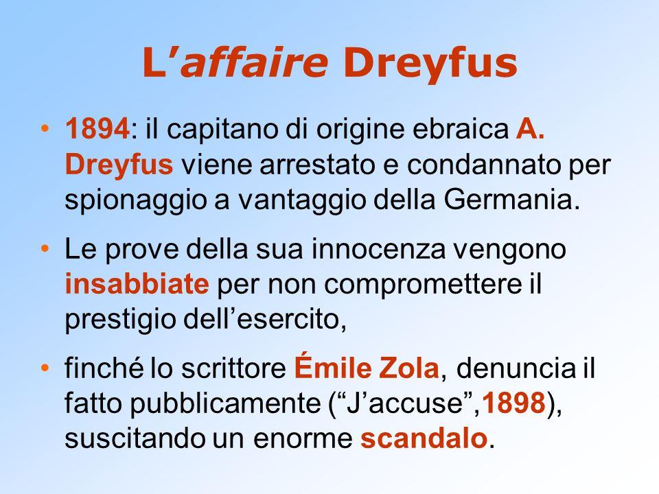 L'affaire Dreyfus 1894: il capitano di origine ebraica A. Dreyfus viene arrestato e condannato per spionaggio a vantaggio della Germania.