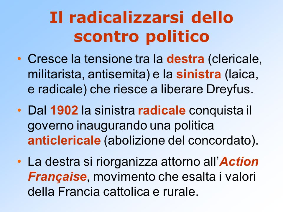 Il radicalizzarsi dello scontro politico