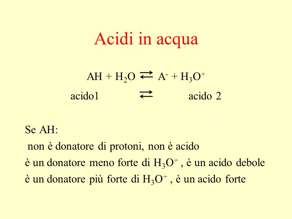 Acidi in acqua AH + H2O ⇄ A- + H3O+ acido1 ⇄ acido 2 Se AH:
