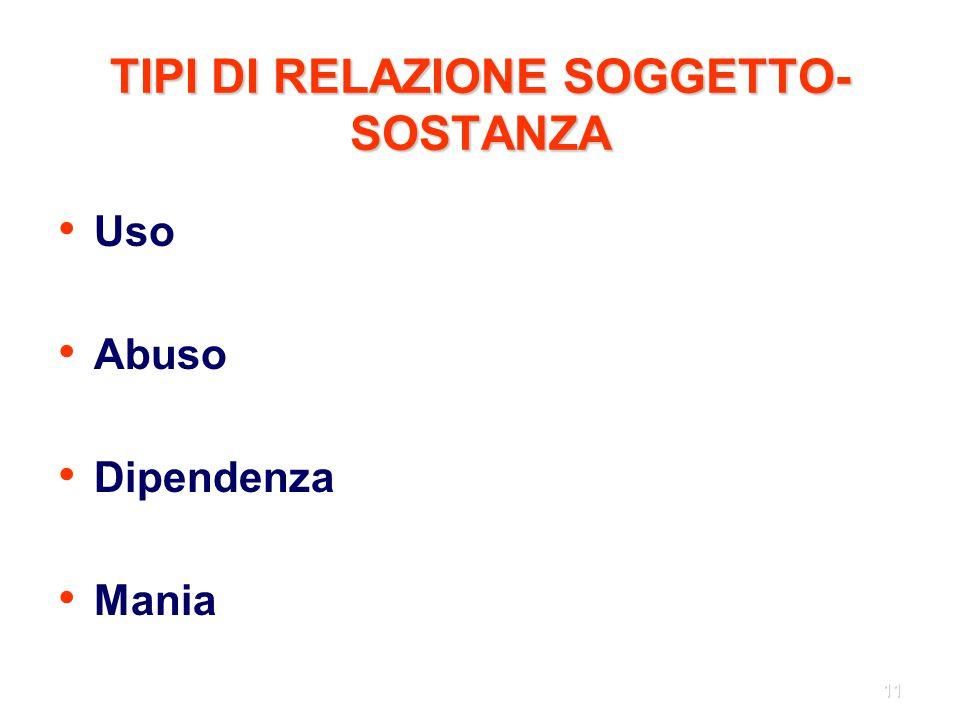 TIPI DI RELAZIONE SOGGETTO-SOSTANZA