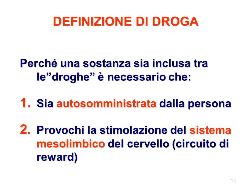 DEFINIZIONE DI DROGA Perché una sostanza sia inclusa tra le droghe è necessario che: Sia autosomministrata dalla persona.