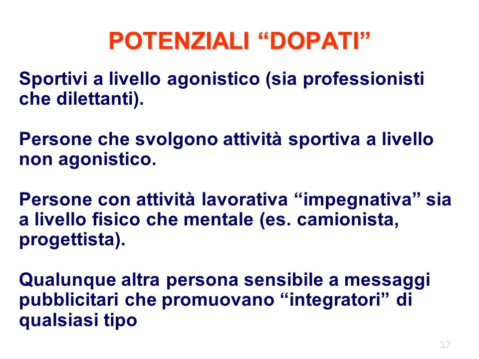 POTENZIALI DOPATI Sportivi a livello agonistico (sia professionisti che dilettanti).