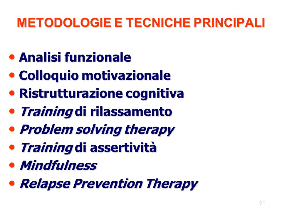 METODOLOGIE E TECNICHE PRINCIPALI