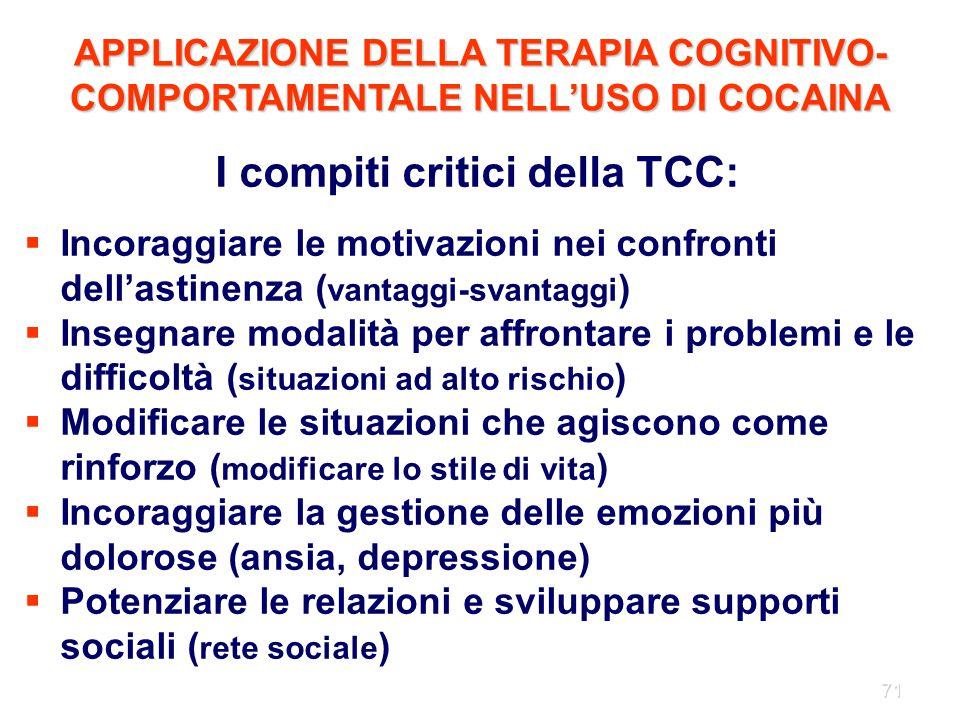 I compiti critici della TCC: