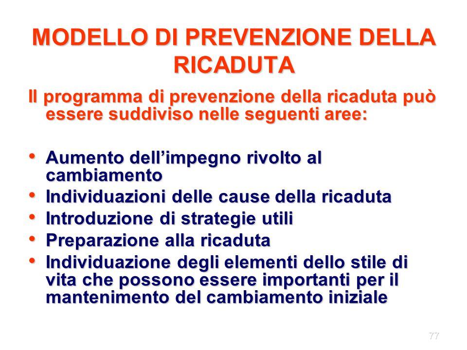 MODELLO DI PREVENZIONE DELLA RICADUTA