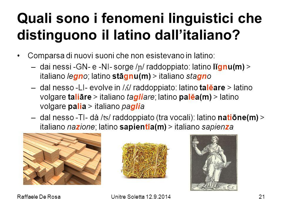 Quali sono i fenomeni linguistici che distinguono il latino dall'italiano