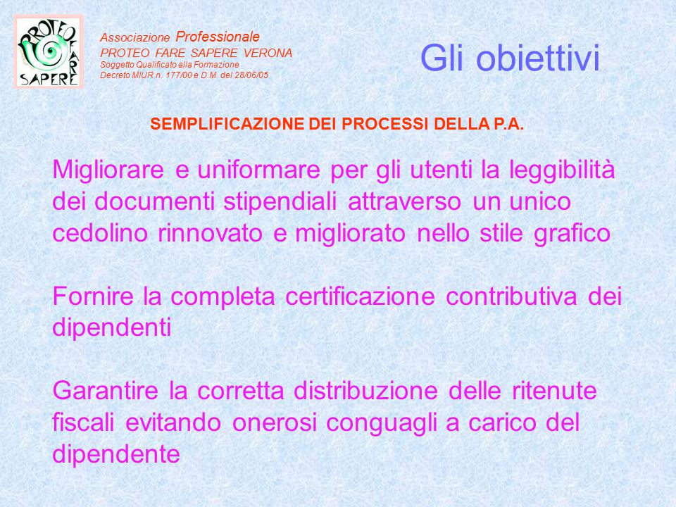 SEMPLIFICAZIONE DEI PROCESSI DELLA P.A.