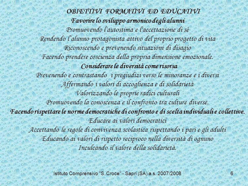 OBIETTIVI FORMATIVI ED EDUCATIVI