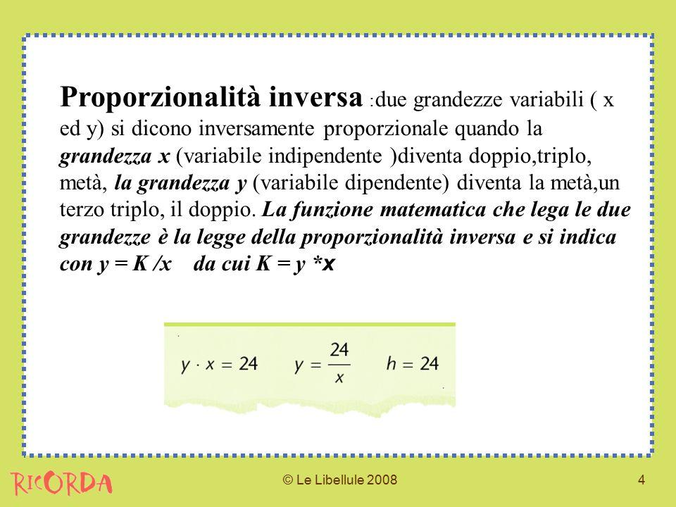 Proporzionalità inversa :due grandezze variabili ( x ed y) si dicono inversamente proporzionale quando la grandezza x (variabile indipendente )diventa doppio,triplo, metà, la grandezza y (variabile dipendente) diventa la metà,un terzo triplo, il doppio. La funzione matematica che lega le due grandezze è la legge della proporzionalità inversa e si indica con y = K /x da cui K = y *x