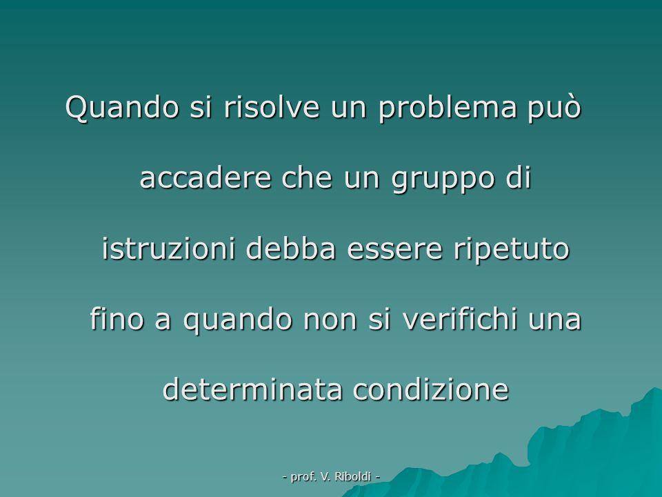 Quando si risolve un problema può accadere che un gruppo di istruzioni debba essere ripetuto fino a quando non si verifichi una determinata condizione