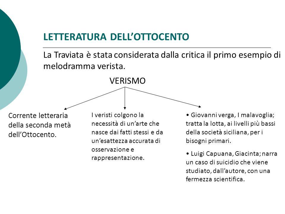 LETTERATURA DELL'OTTOCENTO