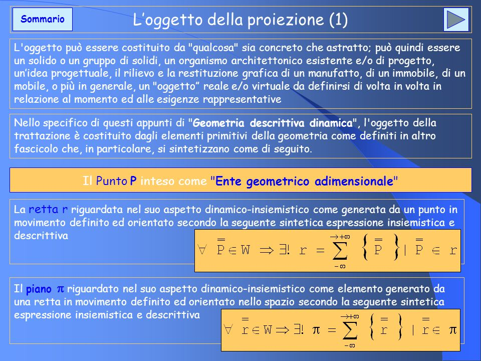 L'oggetto della proiezione (1)
