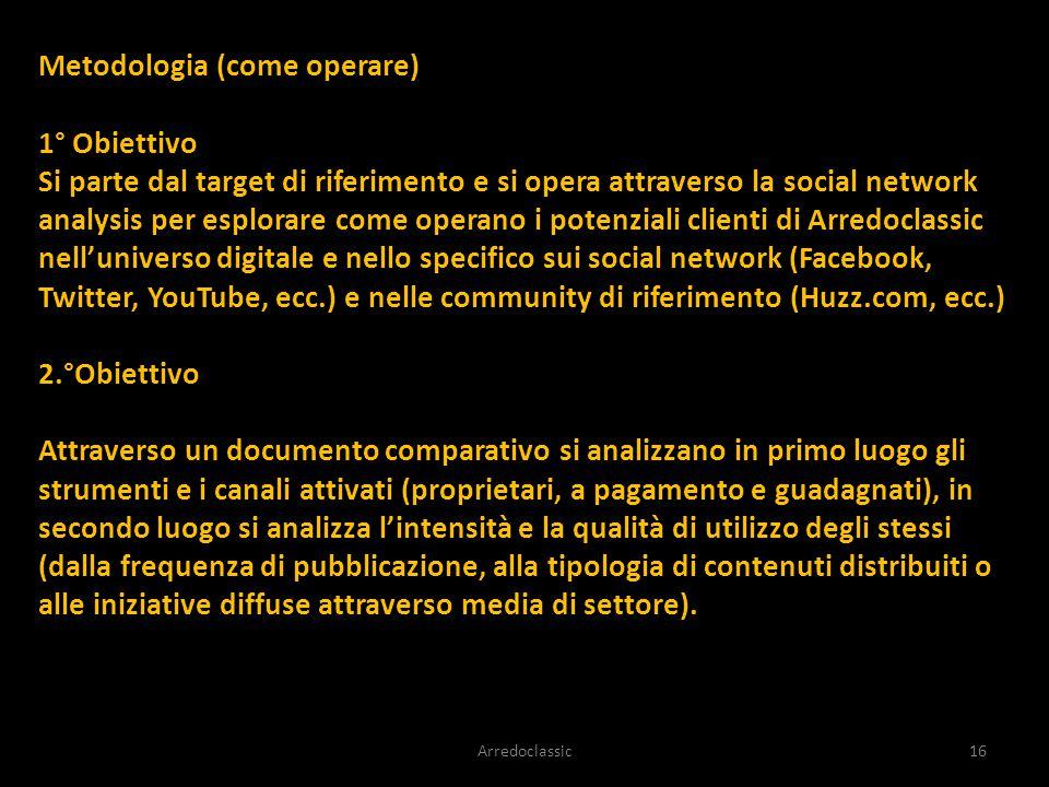 Metodologia (come operare) 1° Obiettivo