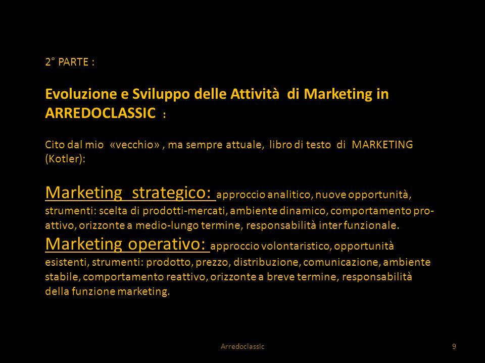 2° PARTE : Evoluzione e Sviluppo delle Attività di Marketing in ARREDOCLASSIC :