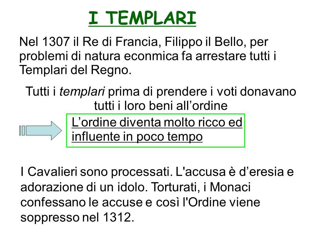 I TEMPLARI Nel 1307 il Re di Francia, Filippo il Bello, per problemi di natura econmica fa arrestare tutti i Templari del Regno.