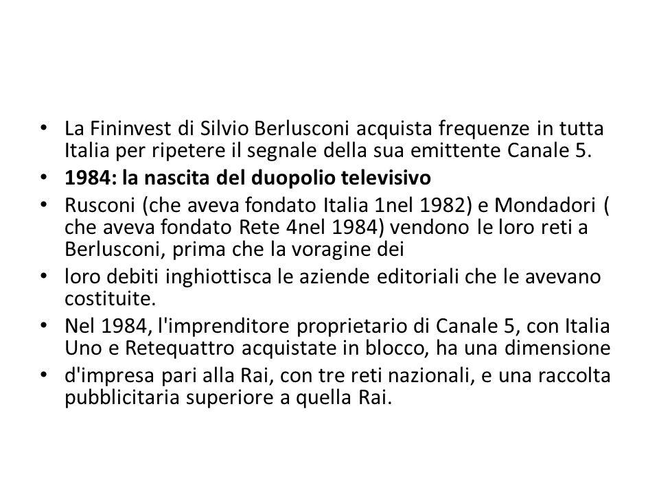 La Fininvest di Silvio Berlusconi acquista frequenze in tutta Italia per ripetere il segnale della sua emittente Canale 5.