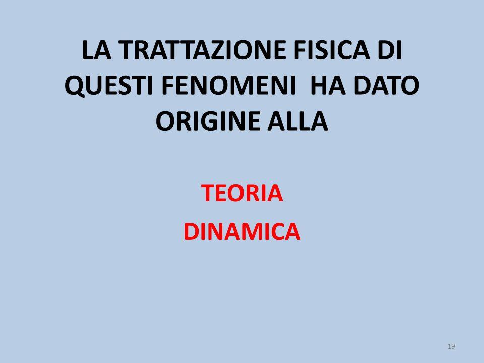 LA TRATTAZIONE FISICA DI QUESTI FENOMENI HA DATO ORIGINE ALLA