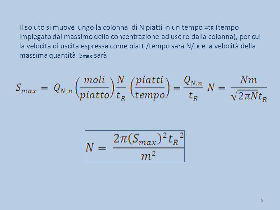 Il soluto si muove lungo la colonna di N piatti in un tempo =tR (tempo impiegato dal massimo della concentrazione ad uscire dalla colonna), per cui la velocità di uscita espressa come piatti/tempo sarà N/tR e la velocità della massima quantità Smax sarà