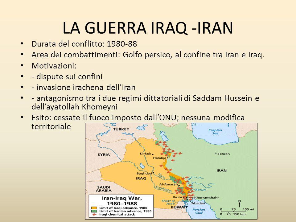 LA GUERRA IRAQ -IRAN Durata del conflitto: 1980-88