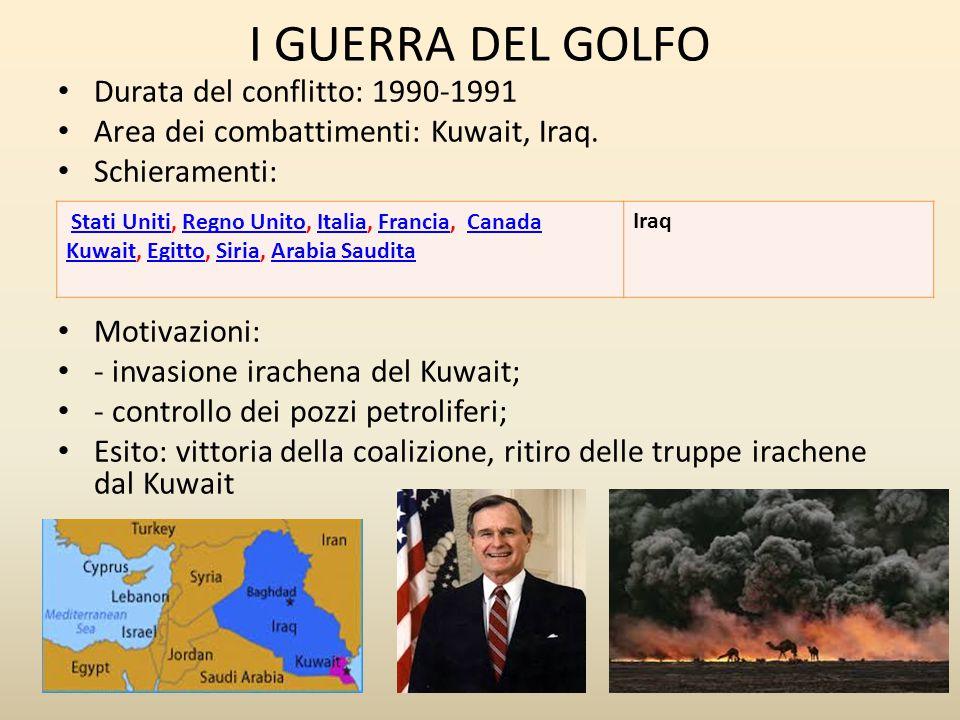 I GUERRA DEL GOLFO Durata del conflitto: 1990-1991