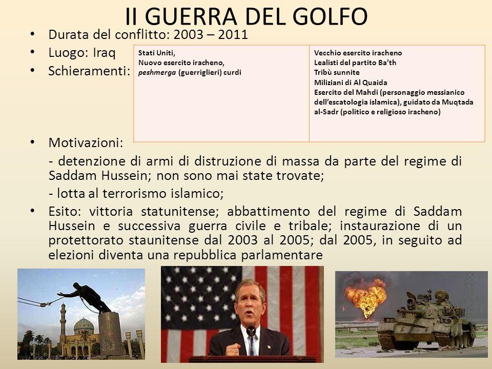 II GUERRA DEL GOLFO Durata del conflitto: 2003 – 2011 Luogo: Iraq