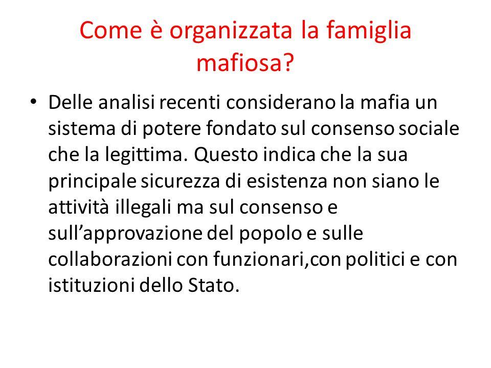 Come è organizzata la famiglia mafiosa