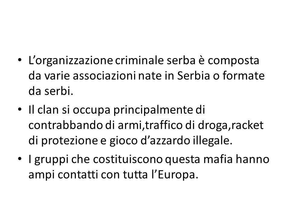 L'organizzazione criminale serba è composta da varie associazioni nate in Serbia o formate da serbi.