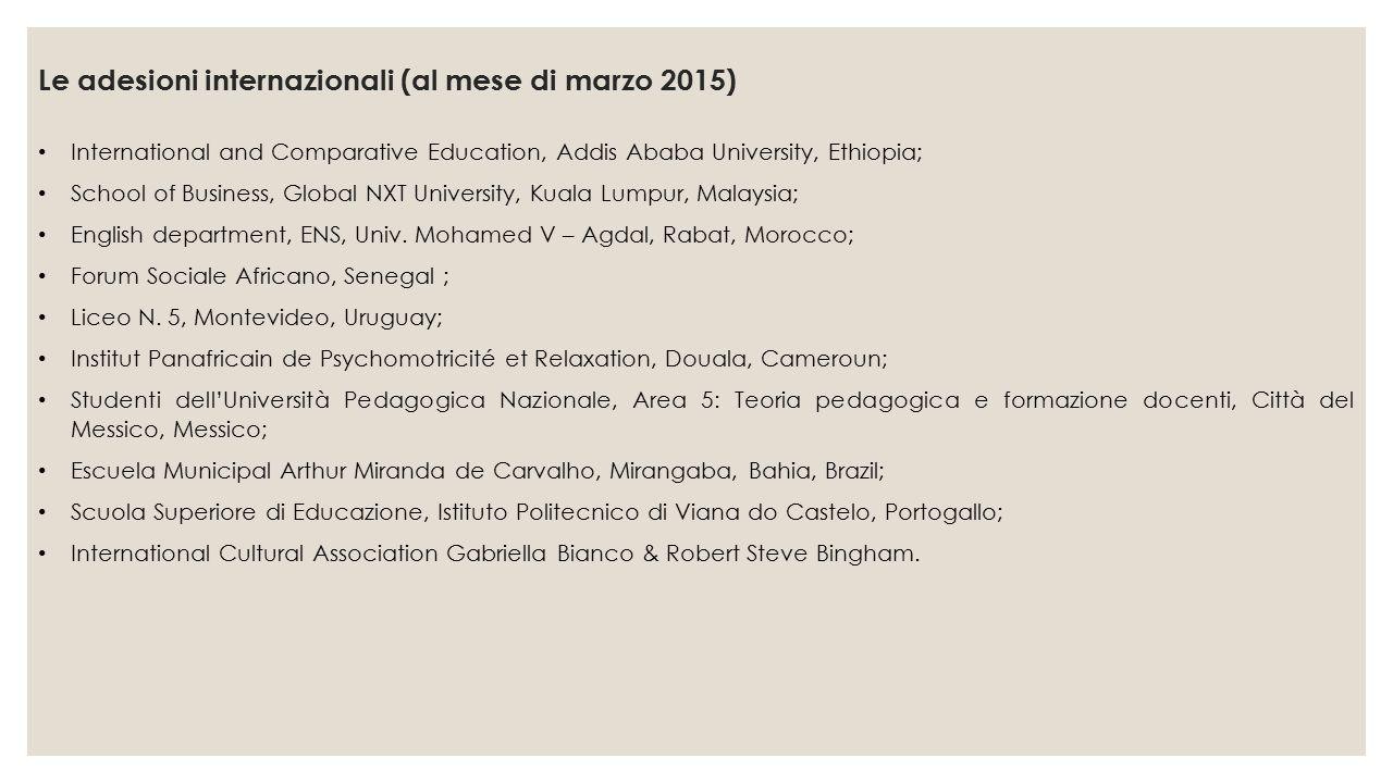 Le adesioni internazionali (al mese di marzo 2015)