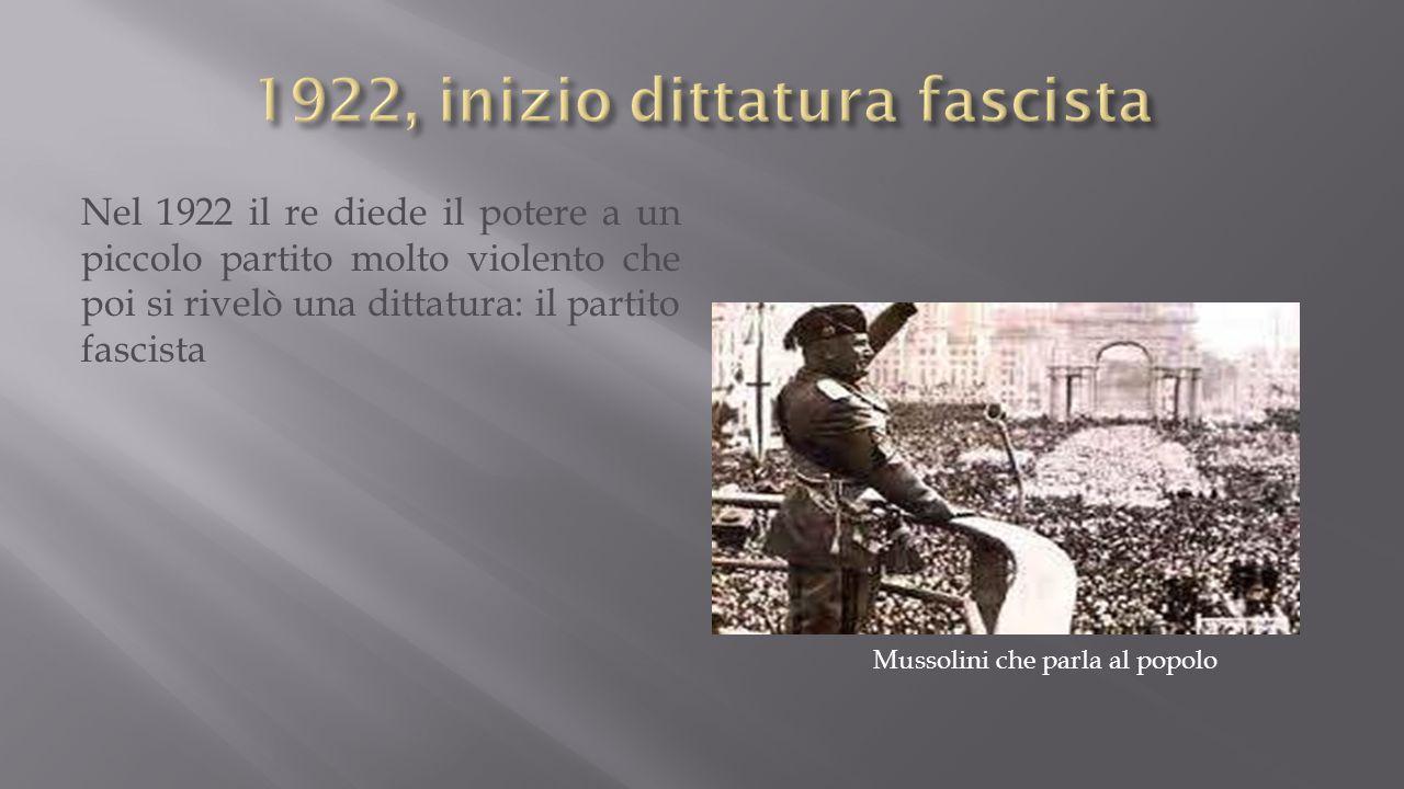 1922, inizio dittatura fascista