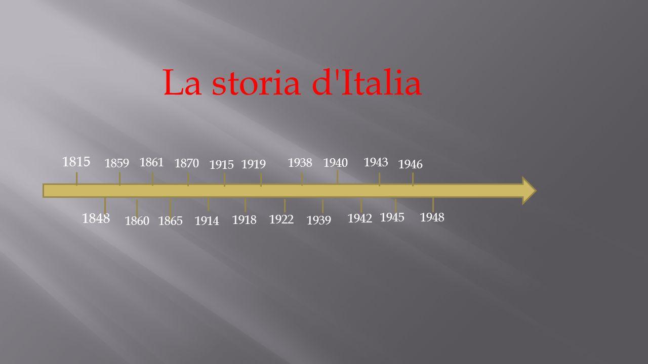 La storia d Italia 1859. 1815. 1861. 1870. 1915. 1919. 1938. 1940. 1943. 1946. 1848. 1860.