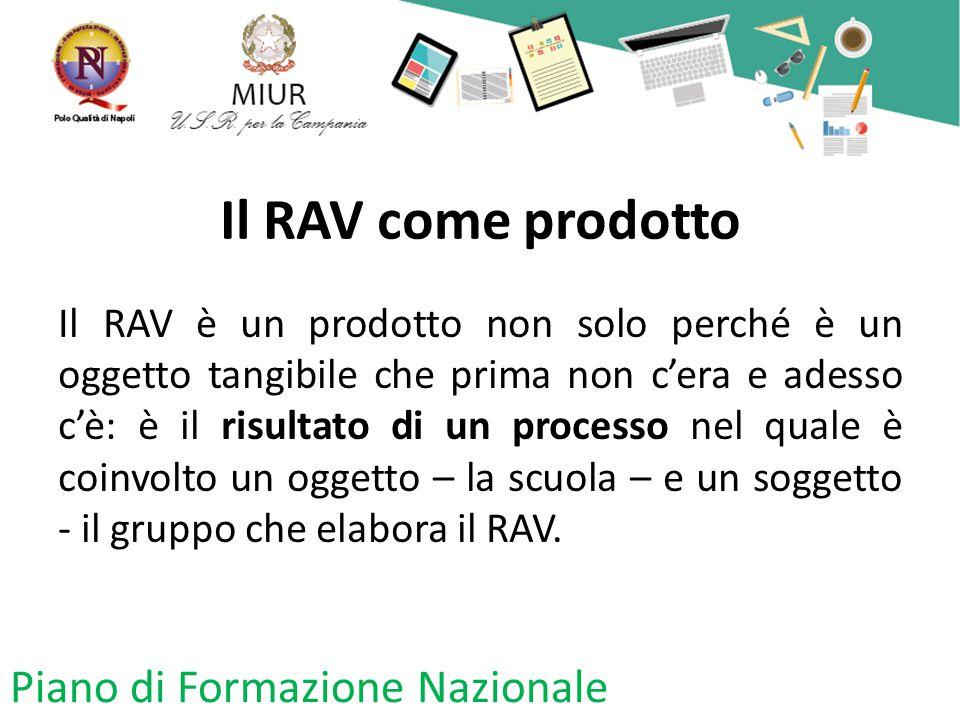 Il RAV come prodotto Piano di Formazione Nazionale