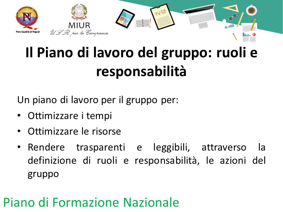Il Piano di lavoro del gruppo: ruoli e responsabilità