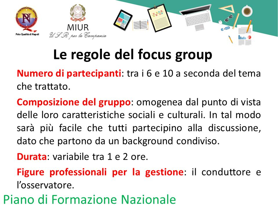 Le regole del focus group