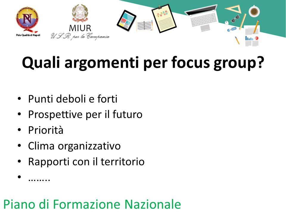 Quali argomenti per focus group