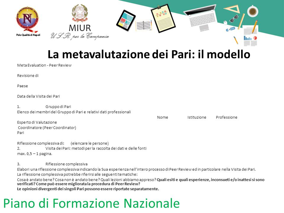 La metavalutazione dei Pari: il modello