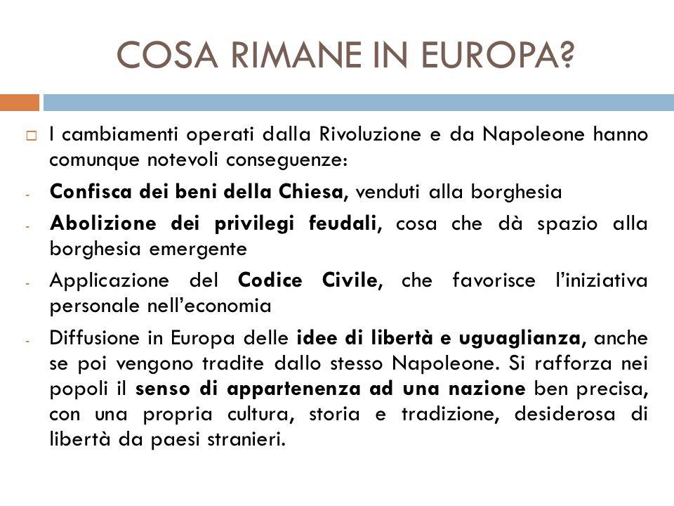 COSA RIMANE IN EUROPA I cambiamenti operati dalla Rivoluzione e da Napoleone hanno comunque notevoli conseguenze: