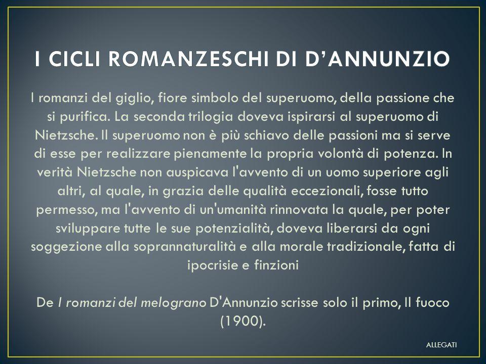 I CICLI ROMANZESCHI DI D'ANNUNZIO