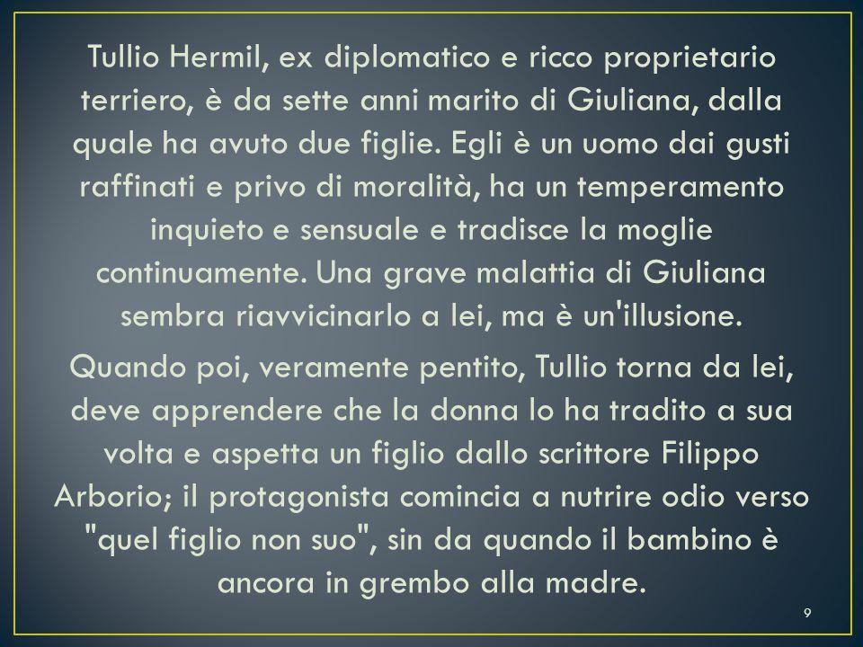 Tullio Hermil, ex diplomatico e ricco proprietario terriero, è da sette anni marito di Giuliana, dalla quale ha avuto due figlie.