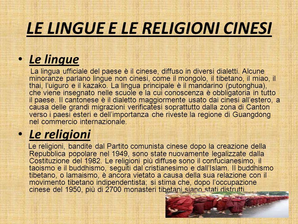 LE LINGUE E LE RELIGIONI CINESI