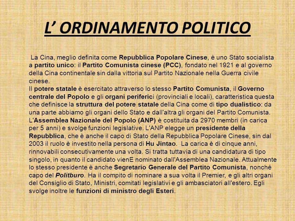 L' ORDINAMENTO POLITICO