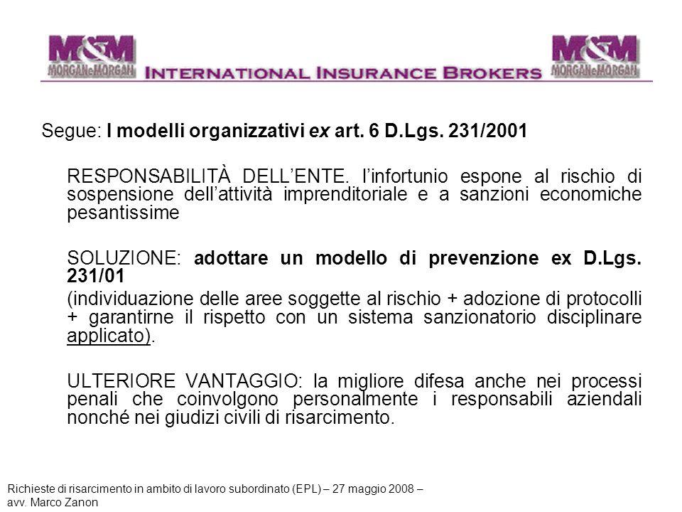 Segue: I modelli organizzativi ex art. 6 D.Lgs. 231/2001