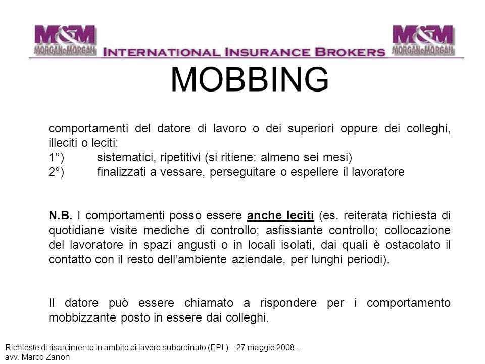 MOBBING comportamenti del datore di lavoro o dei superiori oppure dei colleghi, illeciti o leciti: